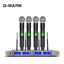 G-MARK Professional Diversity Wireless Microphone 4 channel Ture UHF DR receive Video K Stage performance все цены