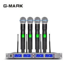 купить G-MARK Professional Diversity Wireless Microphone 4 channel Ture UHF DR receive Video K Stage performance дешево