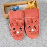 Детские теплые зимние перчатки из овчины, детские зимние ветрозащитные мягкие перчатки для мальчиков и девочек