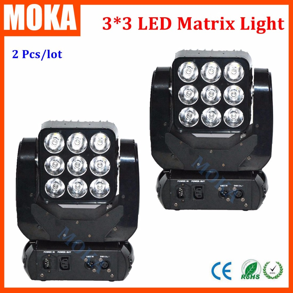 2PCS/LOT Hot Selling 9x10w Cree RGBW 4in1 Matrix Led Beam Moving Head Light Led Show Lighting