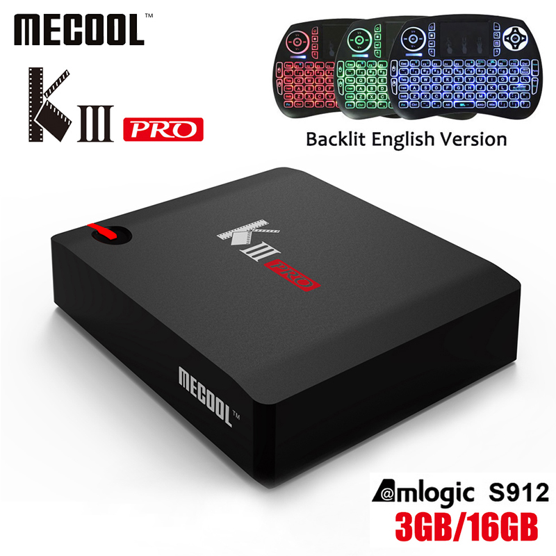 MECOOL KIII Pro DVB-S2 DVB-T2 DVB-C Android 7.1 TV Box 3GB 16GB K3 Pro Amlogic S912 4K Support Cccam NEWCAMD IPTV Keyboard