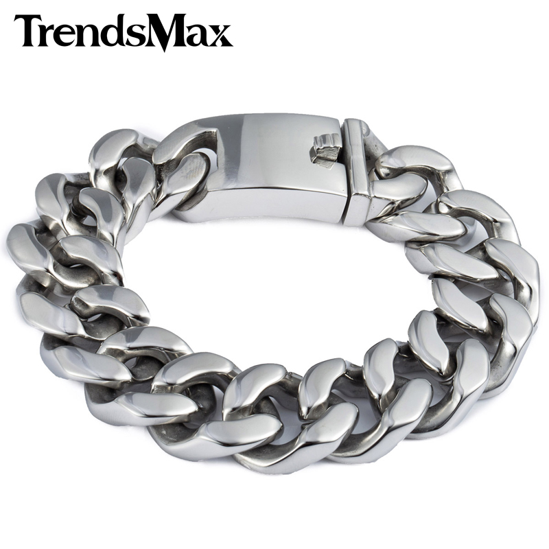 Trendsmax 19mm Polished Silver Color Cut Curb Cuban Link 316L Stainless Steel Bracelet Mens Chain Boys Wholesale Jewelry HB165 25mm mens chain boys big curb link gunmetal tone 316l stainless steel bracelet charm bracelets for women