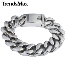 Trendsmax 19mm Polished Silver Color Cut Curb Cuban Link 316L Stainless Steel Bracelet Mens Chain Boys Wholesale Jewelry HB165