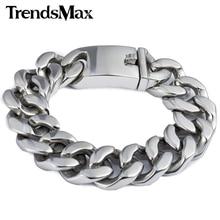 Trendsmax 19mm poli argent couleur coupe bordure lien cubain 316L acier inoxydable Bracelet hommes chaîne garçons gros bijoux HB165