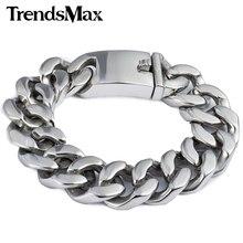 Trendsmax 19mm pulido Color plata corte bordillo cubano enlace 316L pulsera de acero inoxidable para hombre cadena niños al por mayor joyería HB165