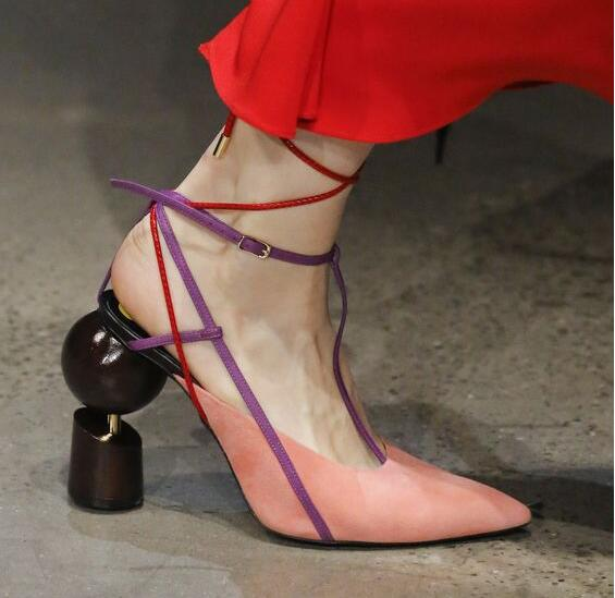 New Fashion Women Black White Pink Red Blue Fur Strange Heel Ball Screws Chunk Heel Cross Lace Up Pointed Toe Pumps Dress Shoes