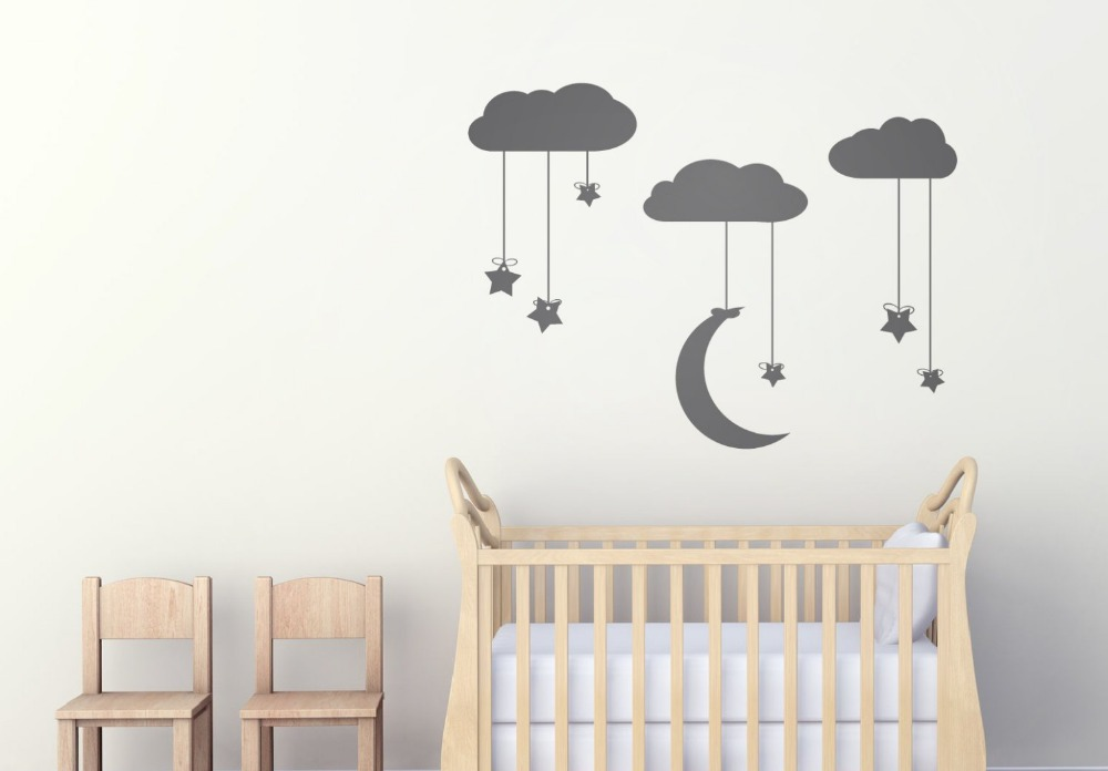 Aliexpress.com : Buy Hanging Stars And Moon From Clouds Wall Art Stars Moon  And Clouds Stickers Wall Stickers Nursery Kids Wall Art Decals D855 From ... Part 54