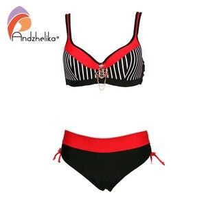 Image 4 - Andzhelika seksi çizgili bikini kadınlar mayo Patchwork büyük fincan bikini seti şınav mayo plaj artı boyutu mayo