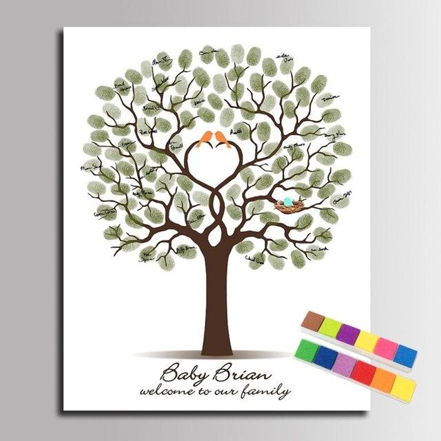 Diy Fingerabdruck Unterschrift Baum Leinwand Malerei Familie Vogel