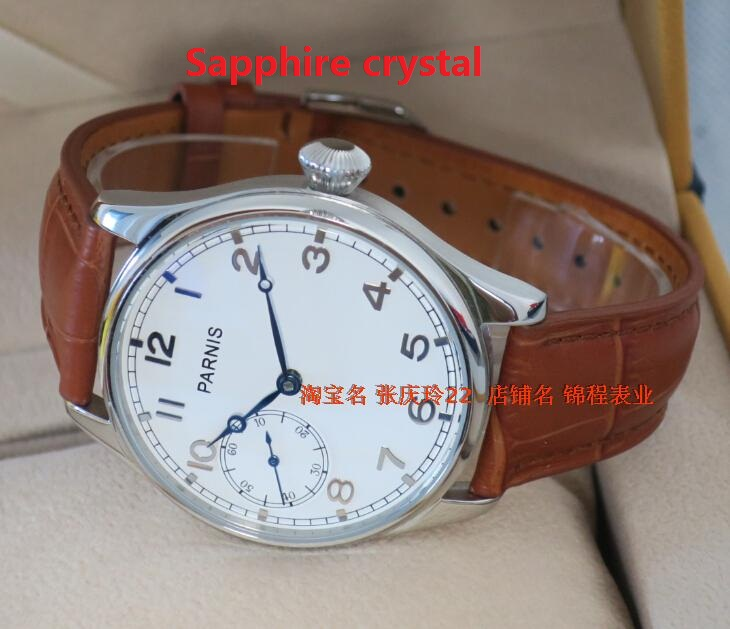 Sapphire crystal 44MM PARNIS ST3600 6497 Mechanical Hand Wind goose neck movement mechanical watches men s
