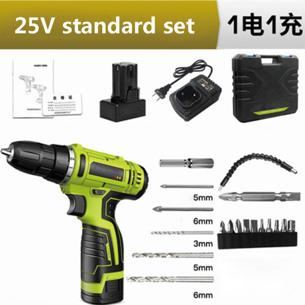 Household Electric Screwdriver Lithium Electric Drill Tool Set Impact Perforated Hand Drill Cordless Brushless Electric Drill