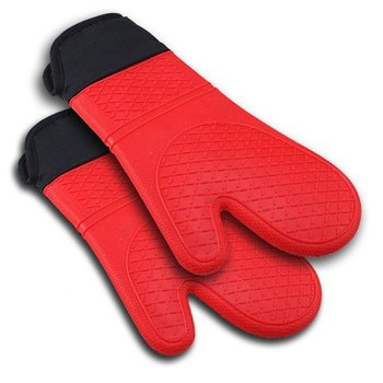 2pcs Red Silicone Oven Mitt With Extra Long Canvas Sleeve For Grilling And BBQ