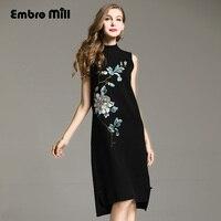 Высокая конец осень зимние женские платья в китайском стиле vintage вышитый цветок элегантные женские свободные вязаный шерстяной празднично