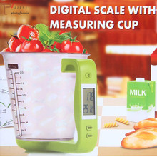 Digital LCD Display Scale Measuring Cup Kitchen Scales Electronic Baking Tool Temperature adjustable Measure Cups scoop