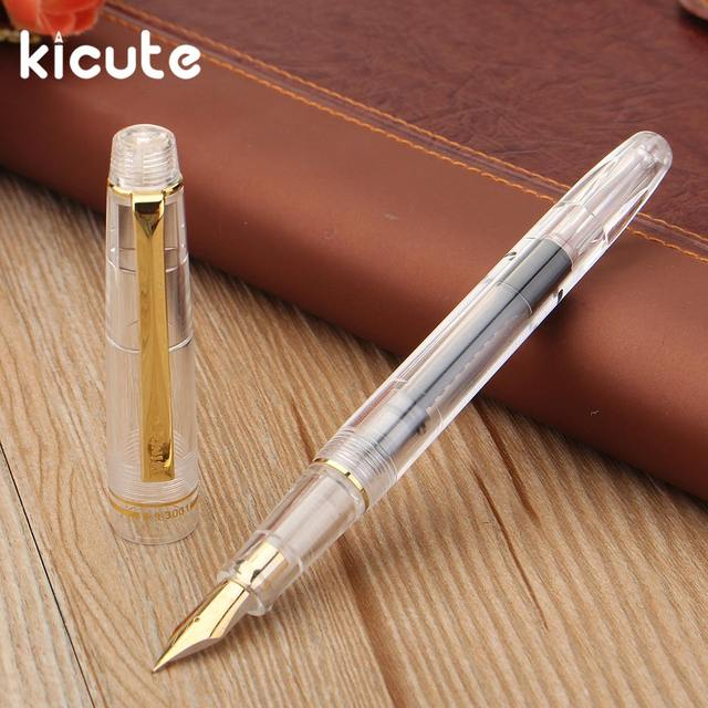 Kicute 1pcs 0 5mm Fine Nib Transpa Black Gold Clip Fountain Pen School Office Stationery