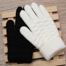 Новые модные детские толстые вязаные перчатки, теплые зимние перчатки, Детские тянущиеся варежки для мальчиков и девочек, однотонные перчатки, аксессуары для рук