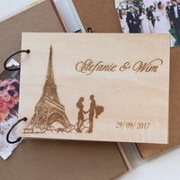 Paris Eiffel Tower Unique Custom Wedding Anniversary Guest Book Personalized Gift Our Vacation Book Elegant