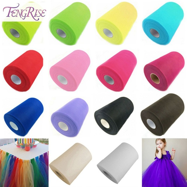 FENGRIS 100 yard 15 cm DIY Wedding Decoration Tulle Roll Spool Tutu Apparel Knit Fabric For Sewing Party Birthday Event Supplies