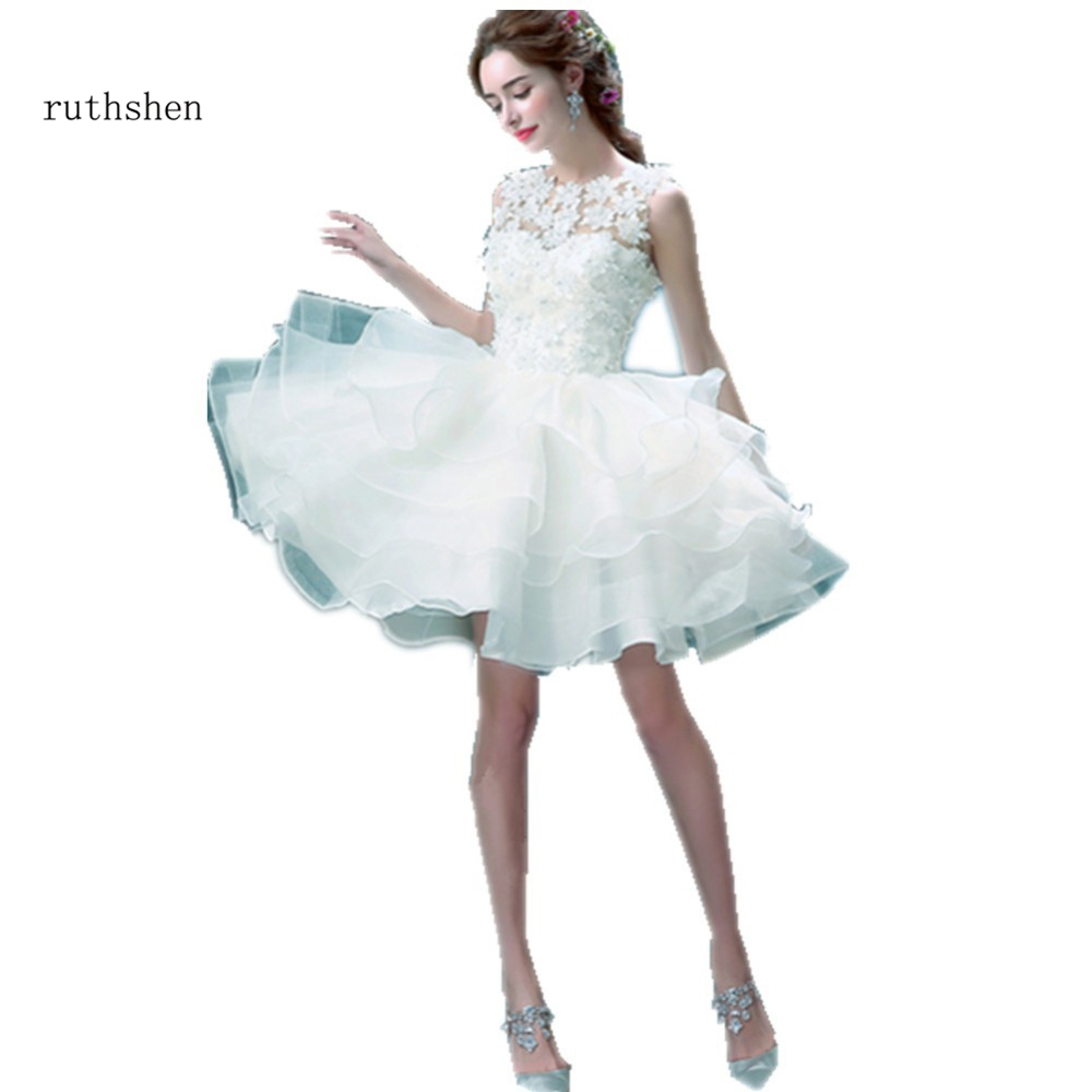 7782ed804d777 Short Wedding Dress White Ball Gown Red Boat Neck Appliques Sheer ...