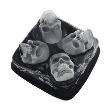 NEW 4 Cavity Diamond Shape 3D 3D Skull Head Ice Cube Mold Maker Bar Party Silicone Trays Chocolate Mold Kitchen Tool