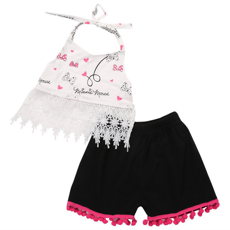Helen115 Lovely Kids Baby Girls With Tassels Sleeveless Leak Navel T-shirt+Short 2PCS Set 0-24M