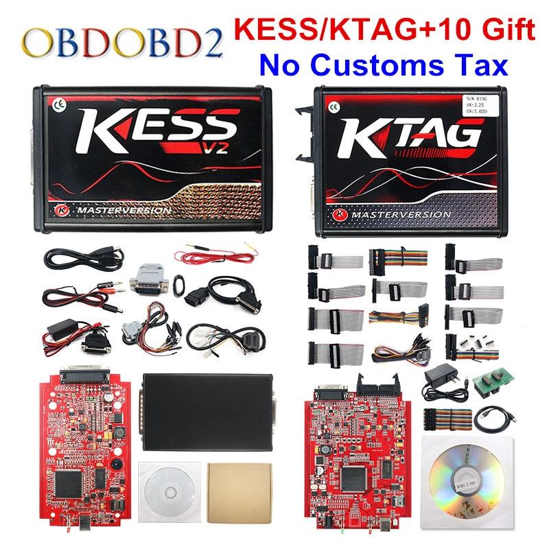 Online Red EU KESS V2 5 017 V2 53 Ktag V7 020 OBD2 Manager Tuning Kit KESS V5 017 4 LED K-tag V2 25 BDM FRAME ECU Programmer