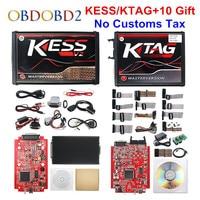 Online Red EU KESS V2 5.017 V2.47 Ktag V7.020 OBD2 Manager Tuning Kit KESS V5.017 4 LED K tag V2.25 BDM FRAME ECU Programmer