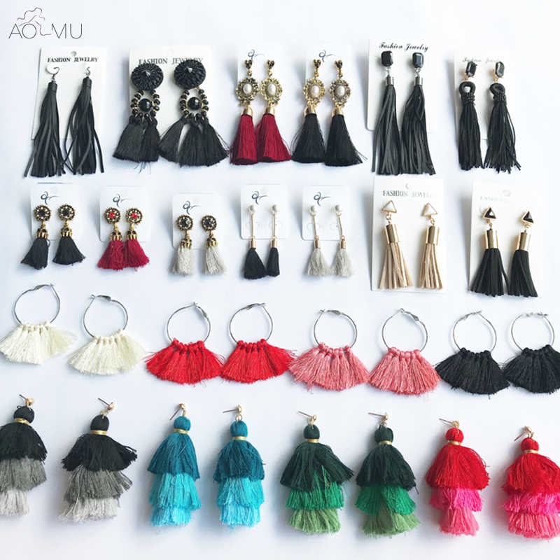 AOMU 2018 New Long Fringed Tassel Earrings Geometric Metal Ball Round Button Colourful Thread Drop Pom Pom Earring Beach Jewerly