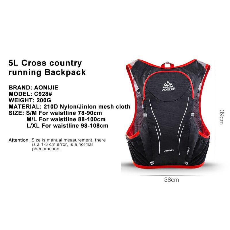 AONIJIE 5L Degli Uomini Delle Donne Maratona Idratazione Maglia Pack Per 2L Sacchetto di Acqua Escursioni In Bicicletta Escursionismo Sacchetto di Sport Esterno Corsa e Jogging Zaino - 4