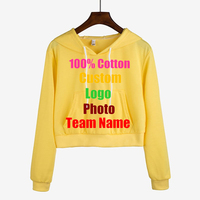 Solid Crop Women Hoody Hot Selling Custom Made Logo Photo DIY Printed Lady Sweatshirt Candy Colors