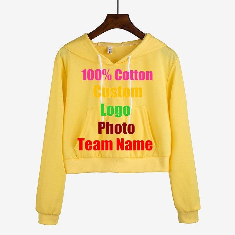 Solid Crop Women Hoody Hot Selling Custom Made Logo Photo DIY Printed Lady Sweatshirt Candy Colors Oversized Punk Rock Tracksuit