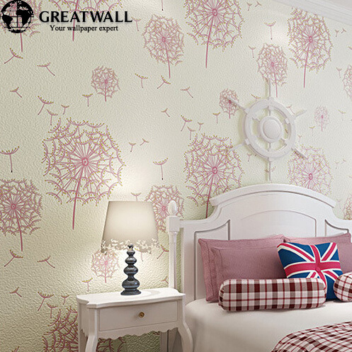 Photo collection girls bedroom pink wallpaper for Black and pink wallpaper for bedroom