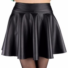 Fashion Women Faux Leather Skirt High Waist Skater flare Mini Skirt Above Knee Solid Color Flared