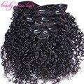 Promoções de venda Grampo em Extensões do cabelo humano virgem Brasileiro do cabelo Encaracolado Grampo de cabelo humano em Extensões do transporte livre