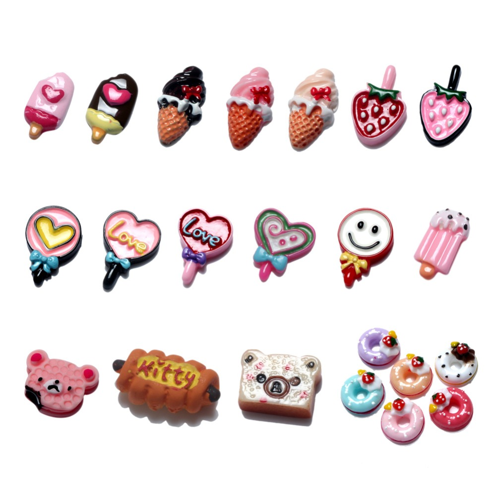 20Pcs Mixed Cute Ice Cream Resin Cabochon Flatback Decoration Crafts Embellishments For Scrapbooking Diy Accessories in Embellishments from Home Garden