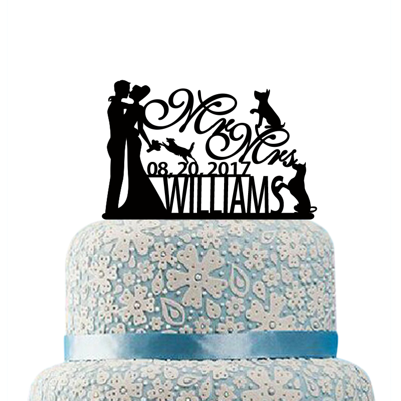 Bride and Groom Cake Topper for Wedding Acrylic Cake Topper Cake Decorating Supplies Personalized Name Wedding Cake Decorations