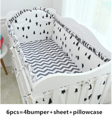 Promotion! 6PCS pine wave Cartoon baby bedding set crib bumper +filler baby bed bumper optional  (bumper+sheet+pillow cover)