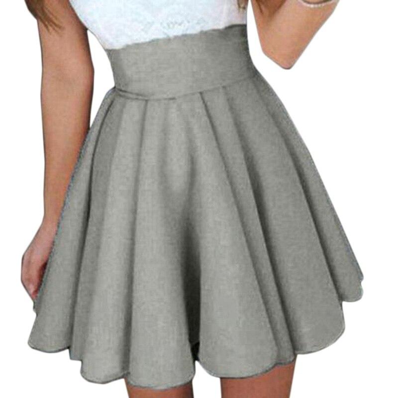 Mini Skirt  Autumn Winter Women Saias Middle Waist Pleated Skirts Skater Cute Short Saia Woman Faldas 2 Colors