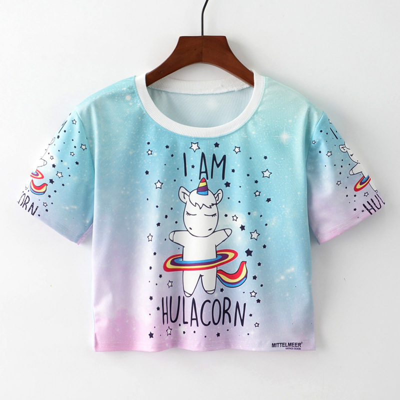 2018 Harajuku T Shirt I Am Hulacorn Letter Unicorn Print Cute Style Crop Tops Women and Girls Summer Shirts Litter Sexy Tops