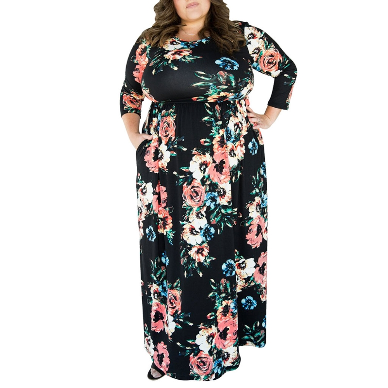 KLV New Womens 3/4 Sleeve Floral Print Maxi Party Dresses Plus Size with Casual Pockets Long Fashion Lady Desses