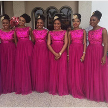 2016 Hot Pink Bridesmaid Dresses Scoop Cap Sleeve Appliques A Line Floor-Length Vestido De Festa Robe Demoiselle D'honneur