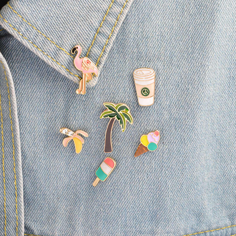 1 pcs cartoon ice cream bird metal badge brooch button pins denim jacket pin jewelry decoration badge for clothes lapel pins