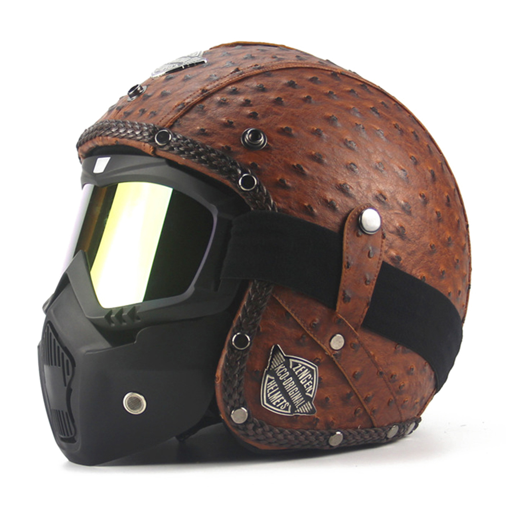 New Retro Vintage Motorcycle Helmet Chopper Scooter Synthetic Leather 3/4 Open Face Casco Moto Helmet DOT Capacete Mask Glasses high quality dot approved brand masei 610 ironman motorcycle skull open face helmet casco capacete flip up motorcycle helmets