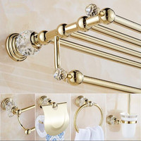 New brass and crystal Bathroom Accessories Set,Robe hook,Paper Holder,Towel Bar,Soap basket,towel rack,towel ring, bathroom sets