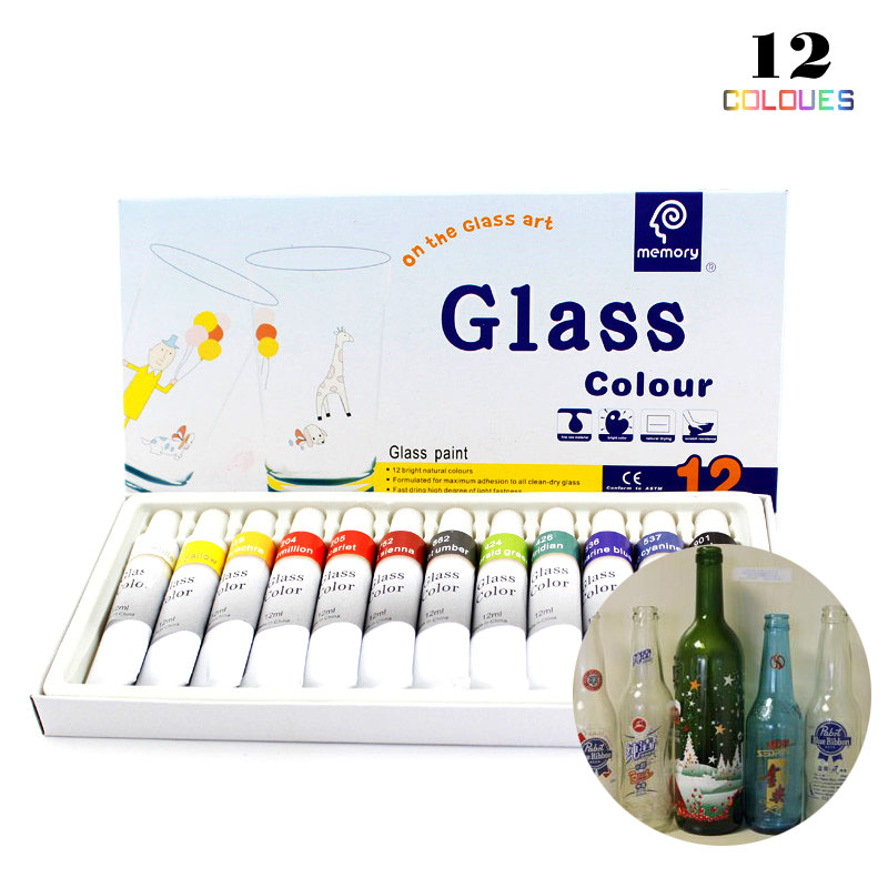 12 Colors 12ML Tube Acrylic Paint Set Color Nail Glass Art Painting Paint For Glass Drawing Tools For Kids DIY Water-resistant