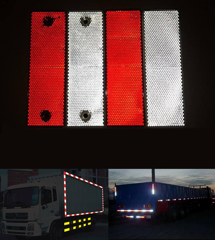 Hot Sell 10PCS/lot Red And White Plastic Retro Reflector For Car