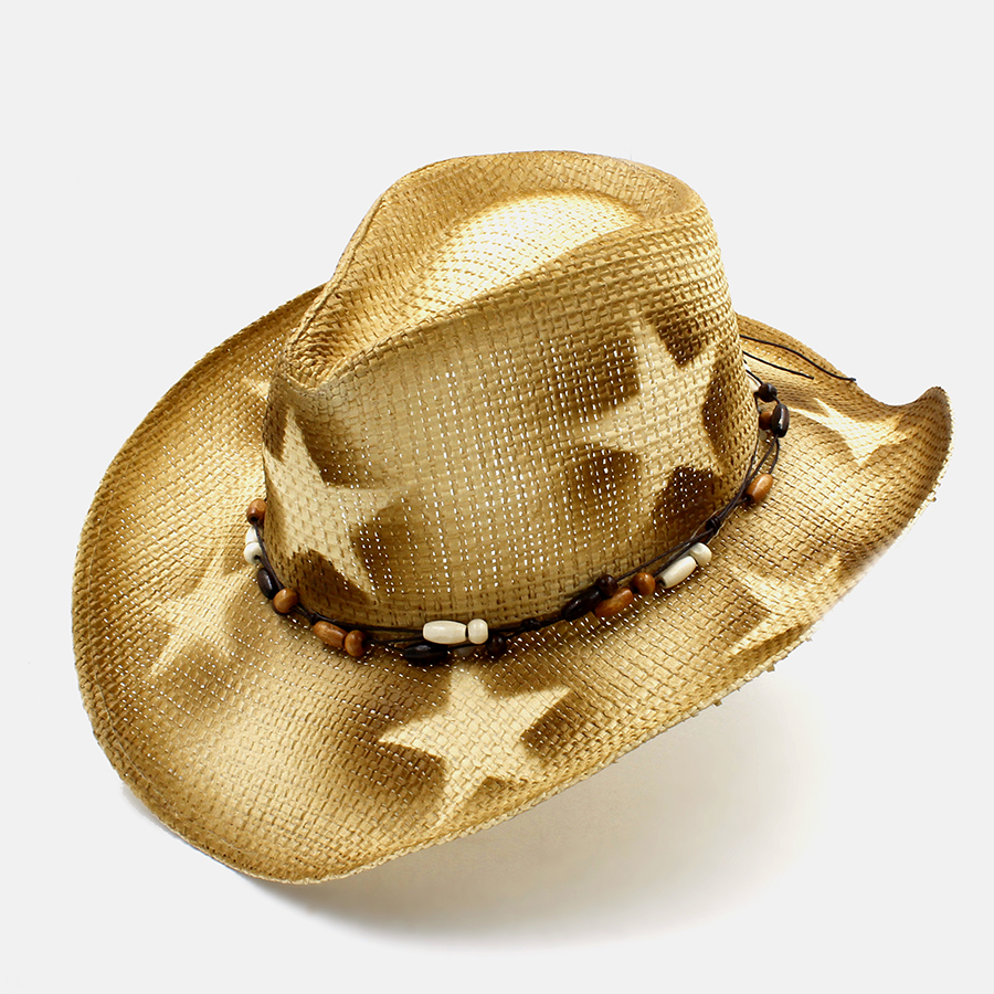 Pekerjaan tangan pria Berongga Jerami Western Cowboy Hat Pria wanita Musim  Panas Jazz Topi Cowgirl Ayah Sombrero Pantai topi Matahari ukuran 58 CM di  Topi ... afe9935a17