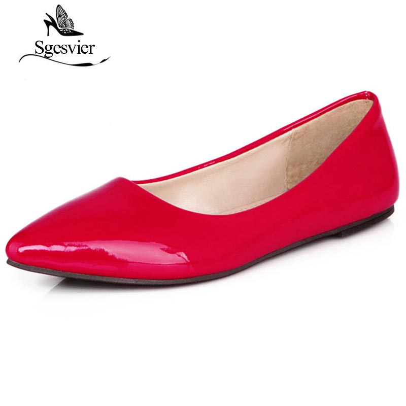 SGESVIER Spring Women Flats Blue Red Yellow Black Green Glossy Patent Leather Women Nude Flats Ladies Shoes Big Size 30-49 OX180