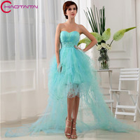 New Tulle Cocktail Dresses Party Gowns Sweetheart Neck Asymmetric Knee length Sleeveless Dress 2018