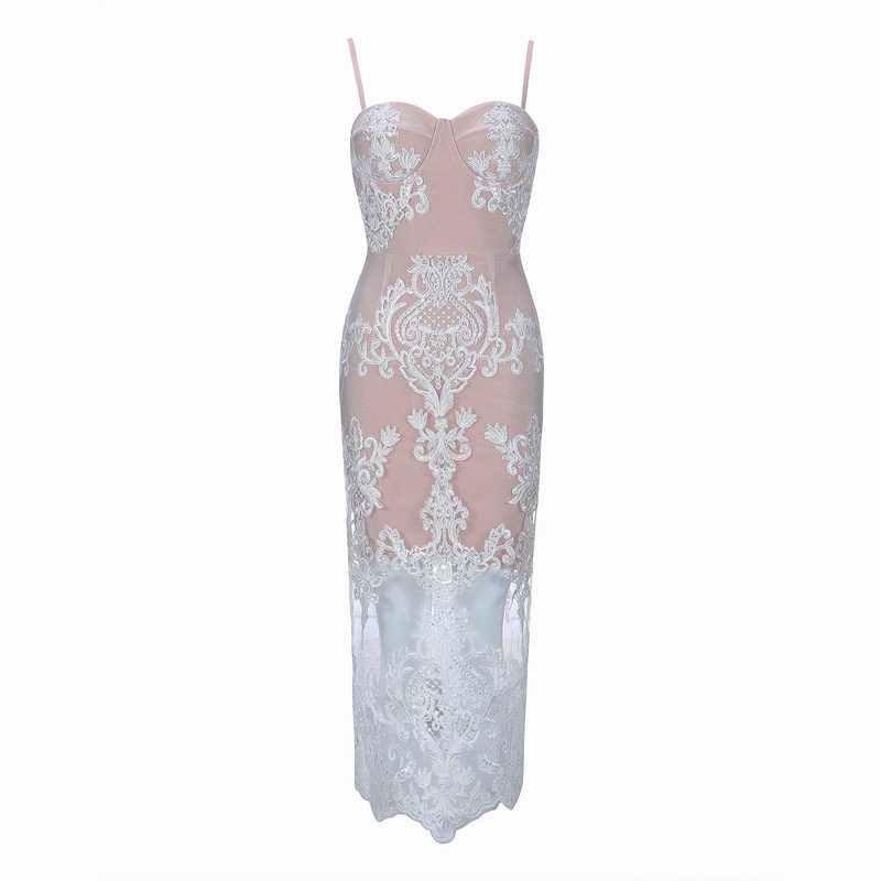 e6947ae5df7c0 ... Gosexy Fashion Women White Lace Bandage Party Dress New 2019 Sexy Club  Bodycon V Neck Bandage ...